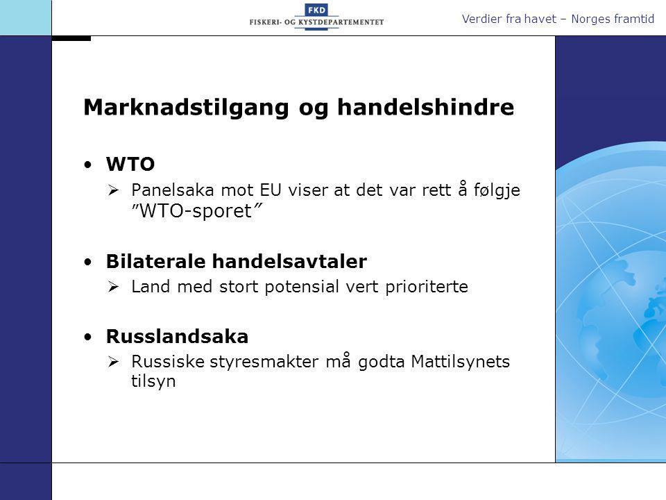 Verdier fra havet – Norges framtid Marknadstilgang og handelshindre WTO  Panelsaka mot EU viser at det var rett å følgje WTO-sporet Bilaterale handelsavtaler  Land med stort potensial vert prioriterte Russlandsaka  Russiske styresmakter må godta Mattilsynets tilsyn