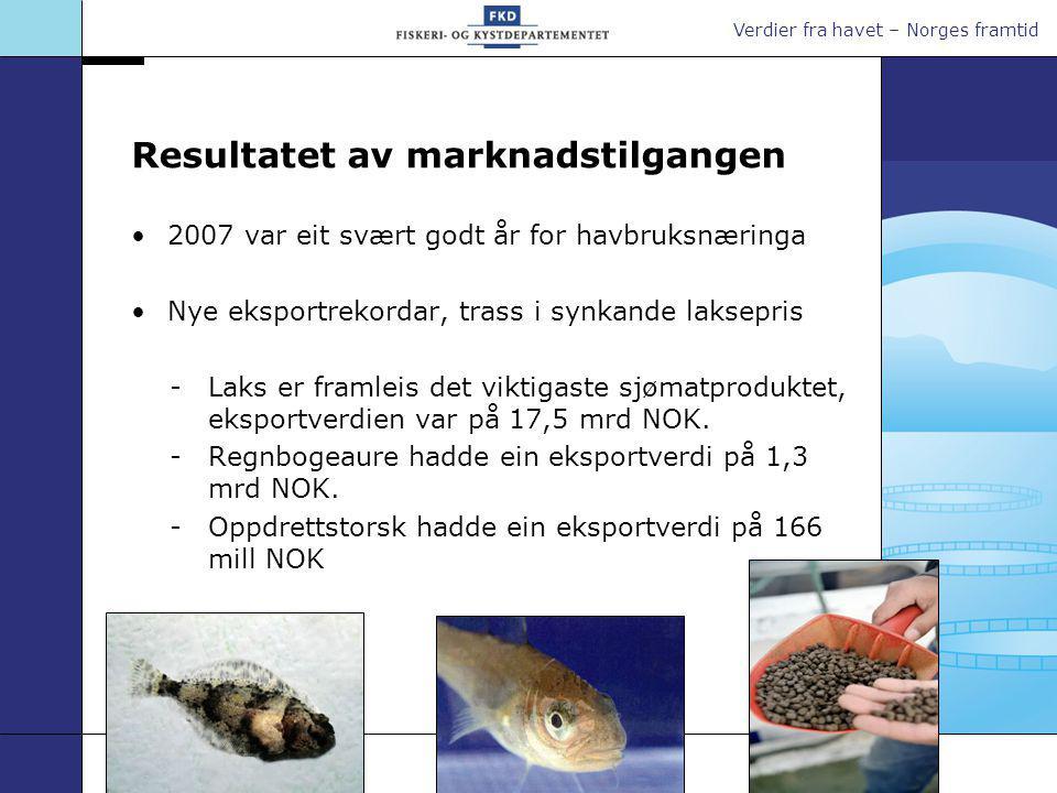 Verdier fra havet – Norges framtid Resultatet av marknadstilgangen 2007 var eit svært godt år for havbruksnæringa Nye eksportrekordar, trass i synkand