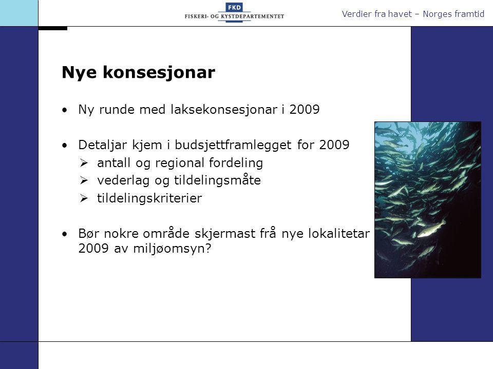 Verdier fra havet – Norges framtid Ei konkurransedyktig havbruksnæring Spelar på lag med lokalsamfunna og med miljøet Tar fiskehelse og fiskevelferd på alvor Produserer god og trygg sjømat til stadig fleire marknader i verda