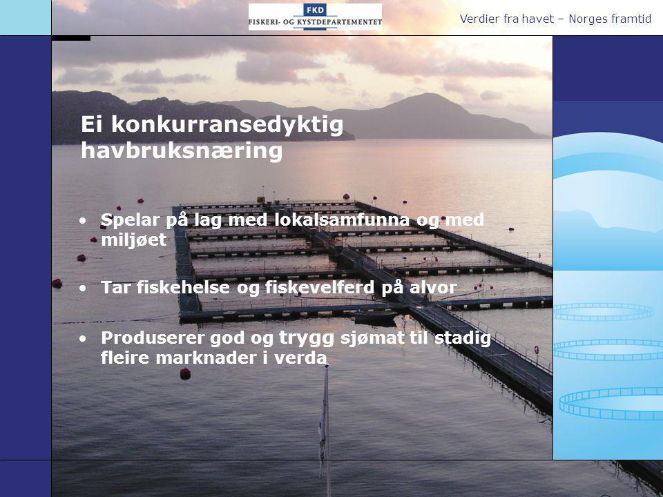 Verdier fra havet – Norges framtid Ei konkurransedyktig havbruksnæring Spelar på lag med lokalsamfunna og med miljøet Tar fiskehelse og fiskevelferd p