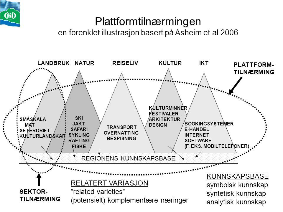 Plattformtilnærmingen en forenklet illustrasjon basert på Asheim et al 2006 SKI JAKT SAFARI SYKLING RAFTING FISKE TRANSPORT OVERNATTING BESPISNING REG
