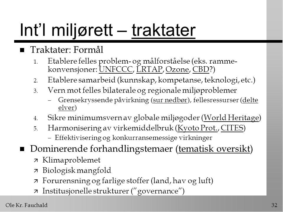 Ole Kr.Fauchald32 Int'l miljørett – traktatertraktater n Traktater: Formål 1.