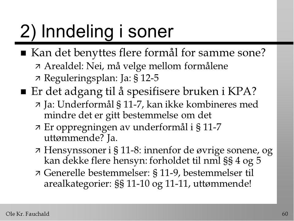 Ole Kr.Fauchald60 2) Inndeling i soner n Kan det benyttes flere formål for samme sone.