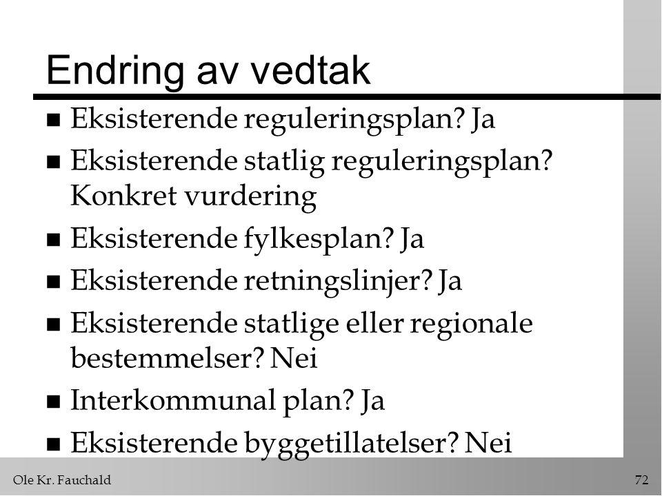 Ole Kr.Fauchald72 Endring av vedtak n Eksisterende reguleringsplan.