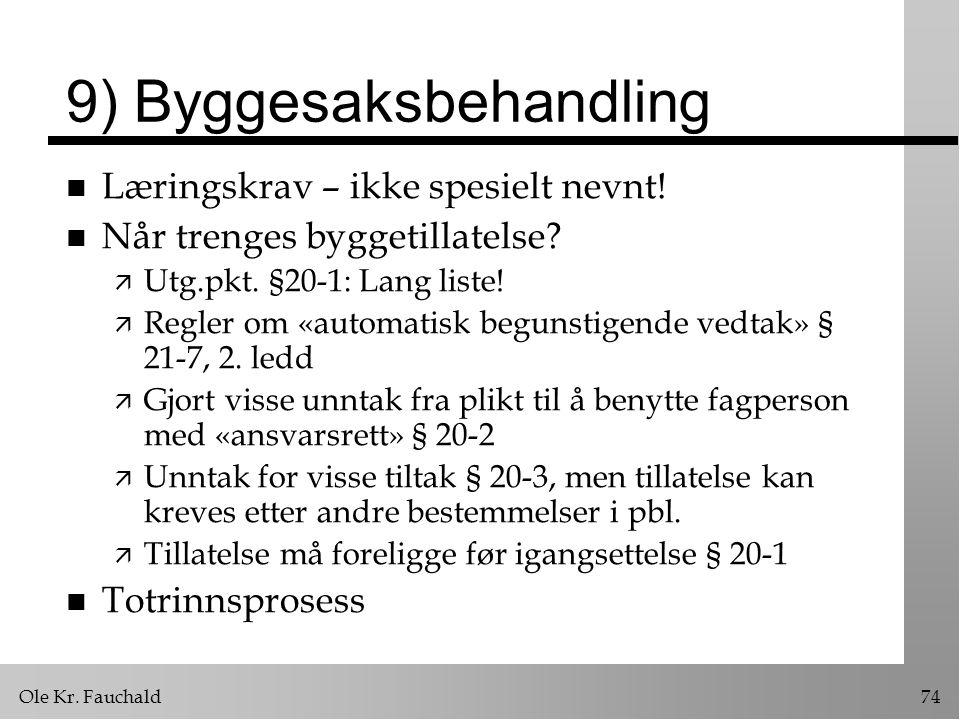 Ole Kr.Fauchald74 9) Byggesaksbehandling n Læringskrav – ikke spesielt nevnt.