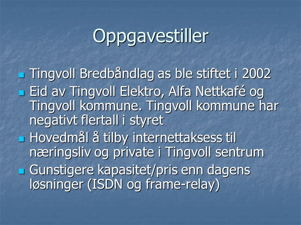 Oppgavestiller Tingvoll Bredbåndlag as ble stiftet i 2002 Tingvoll Bredbåndlag as ble stiftet i 2002 Eid av Tingvoll Elektro, Alfa Nettkafé og Tingvol