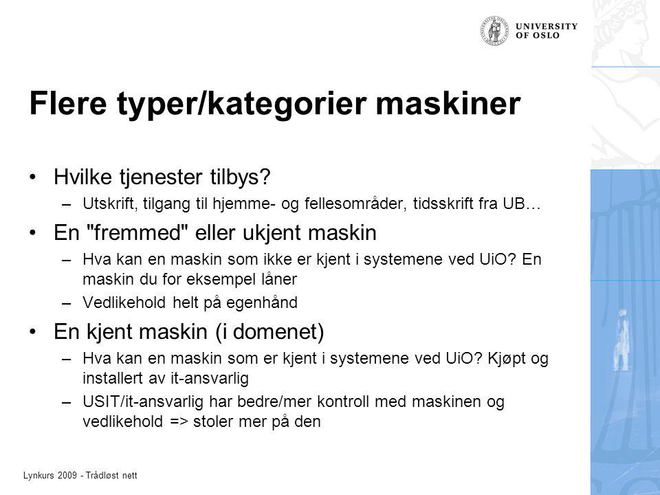 Lynkurs 2009 - Trådløst nett Flere typer/kategorier maskiner Hvilke tjenester tilbys? –Utskrift, tilgang til hjemme- og fellesområder, tidsskrift fra