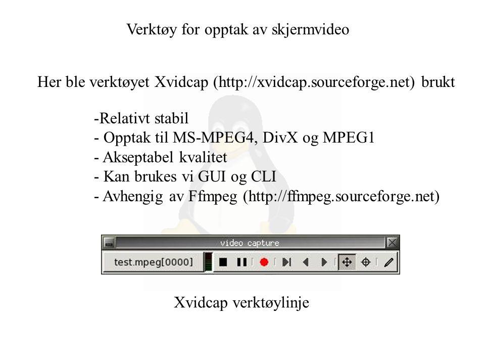 Verktøy for opptak av skjermvideo Her ble verktøyet Xvidcap (http://xvidcap.sourceforge.net) brukt -Relativt stabil - Opptak til MS-MPEG4, DivX og MPEG1 - Akseptabel kvalitet - Kan brukes vi GUI og CLI - Avhengig av Ffmpeg (http://ffmpeg.sourceforge.net) Xvidcap verktøylinje