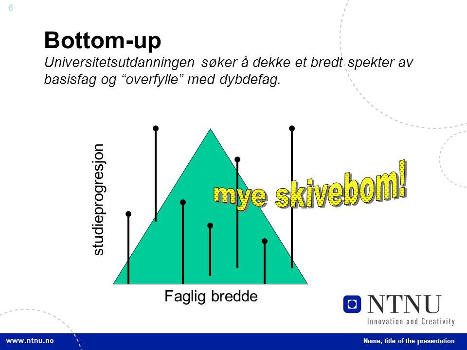 """6 Bottom-up Universitetsutdanningen søker å dekke et bredt spekter av basisfag og """"overfylle"""" med dybdefag. Name, title of the presentation Faglig bre"""
