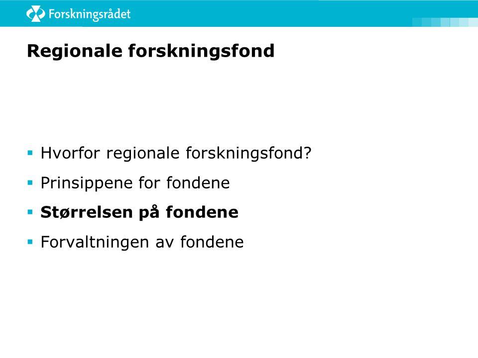 Regionale forskningsfond  Hvorfor regionale forskningsfond?  Prinsippene for fondene  Størrelsen på fondene  Forvaltningen av fondene