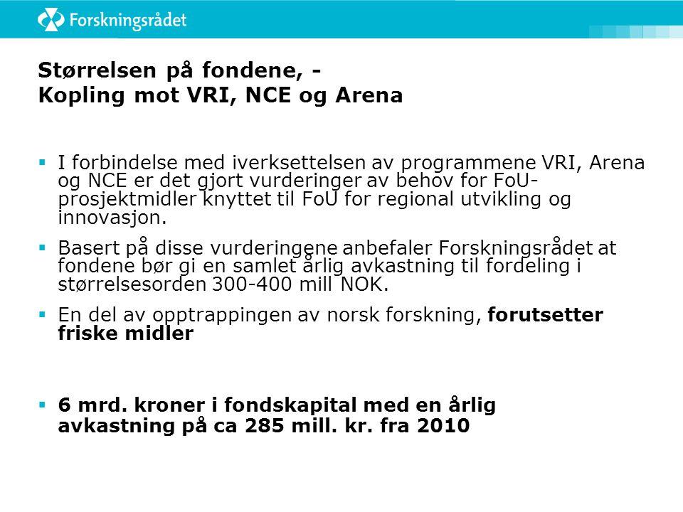Størrelsen på fondene, - Kopling mot VRI, NCE og Arena  I forbindelse med iverksettelsen av programmene VRI, Arena og NCE er det gjort vurderinger av