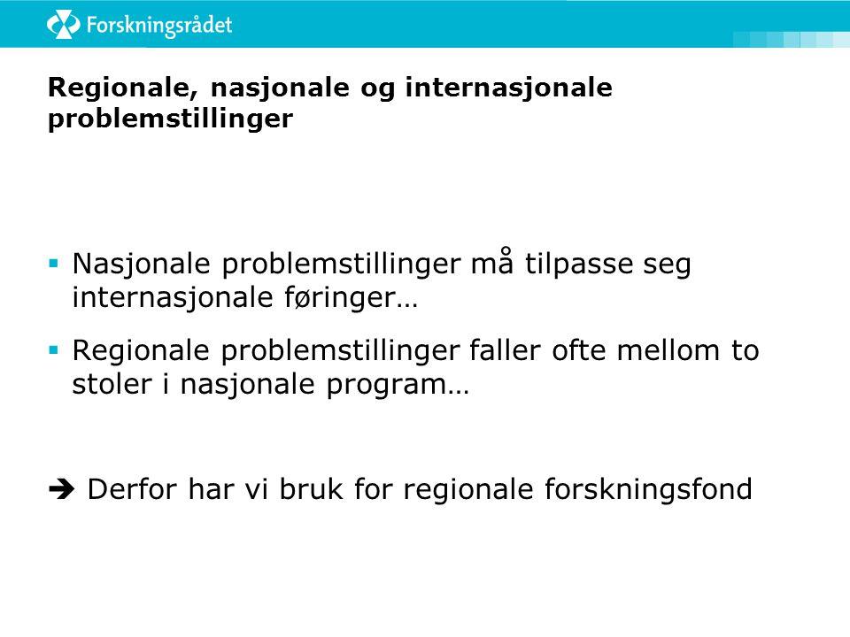 Regionale, nasjonale og internasjonale problemstillinger  Nasjonale problemstillinger må tilpasse seg internasjonale føringer…  Regionale problemsti