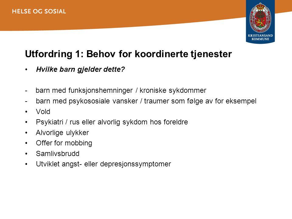 Utfordring 1: Behov for koordinerte tjenester Hvilke barn gjelder dette? - barn med funksjonshemninger / kroniske sykdommer -barn med psykososiale van