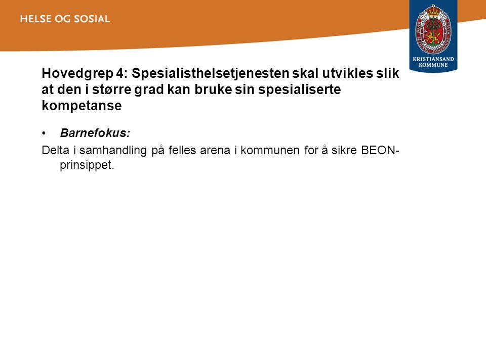 Hovedgrep 4: Spesialisthelsetjenesten skal utvikles slik at den i større grad kan bruke sin spesialiserte kompetanse Barnefokus: Delta i samhandling p