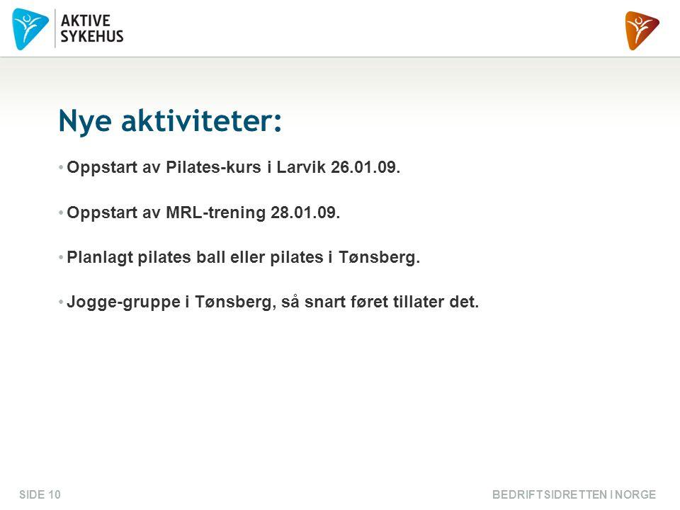 BEDRIFTSIDRETTEN I NORGESIDE 10 Nye aktiviteter: Oppstart av Pilates-kurs i Larvik 26.01.09. Oppstart av MRL-trening 28.01.09. Planlagt pilates ball e