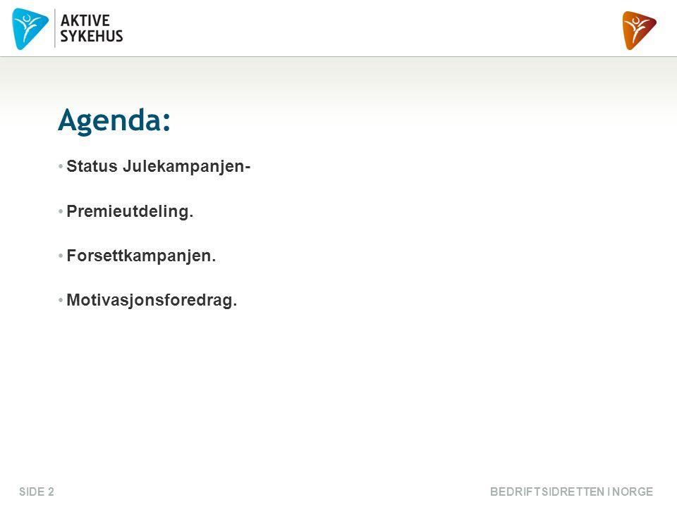BEDRIFTSIDRETTEN I NORGESIDE 2 Agenda: Status Julekampanjen- Premieutdeling. Forsettkampanjen. Motivasjonsforedrag.