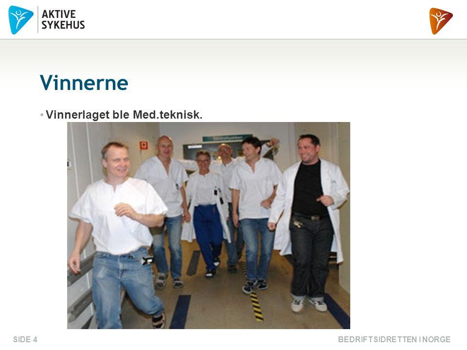 BEDRIFTSIDRETTEN I NORGESIDE 4 Vinnerne Vinnerlaget ble Med.teknisk.