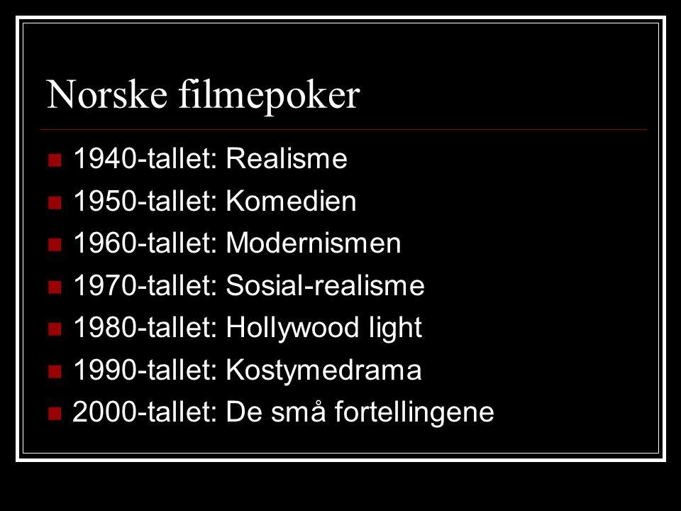 Norske filmepoker 1940-tallet: Realisme 1950-tallet: Komedien 1960-tallet: Modernismen 1970-tallet: Sosial-realisme 1980-tallet: Hollywood light 1990-