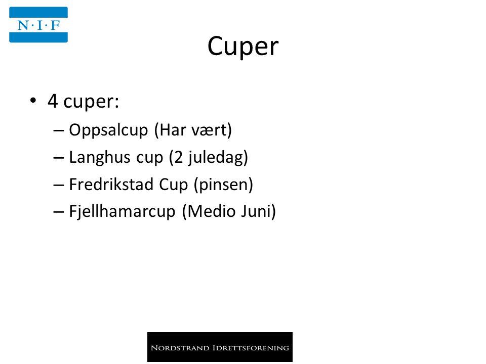 Cuper 4 cuper: – Oppsalcup (Har vært) – Langhus cup (2 juledag) – Fredrikstad Cup (pinsen) – Fjellhamarcup (Medio Juni)