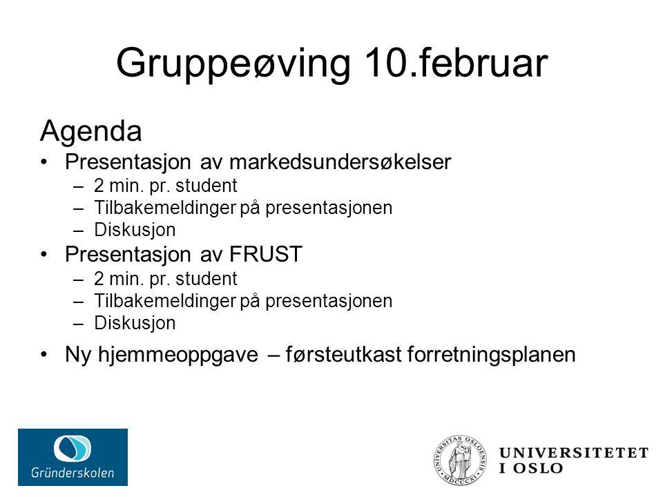 Gruppeøving 10.februar Agenda Presentasjon av markedsundersøkelser –2 min. pr. student –Tilbakemeldinger på presentasjonen –Diskusjon Presentasjon av