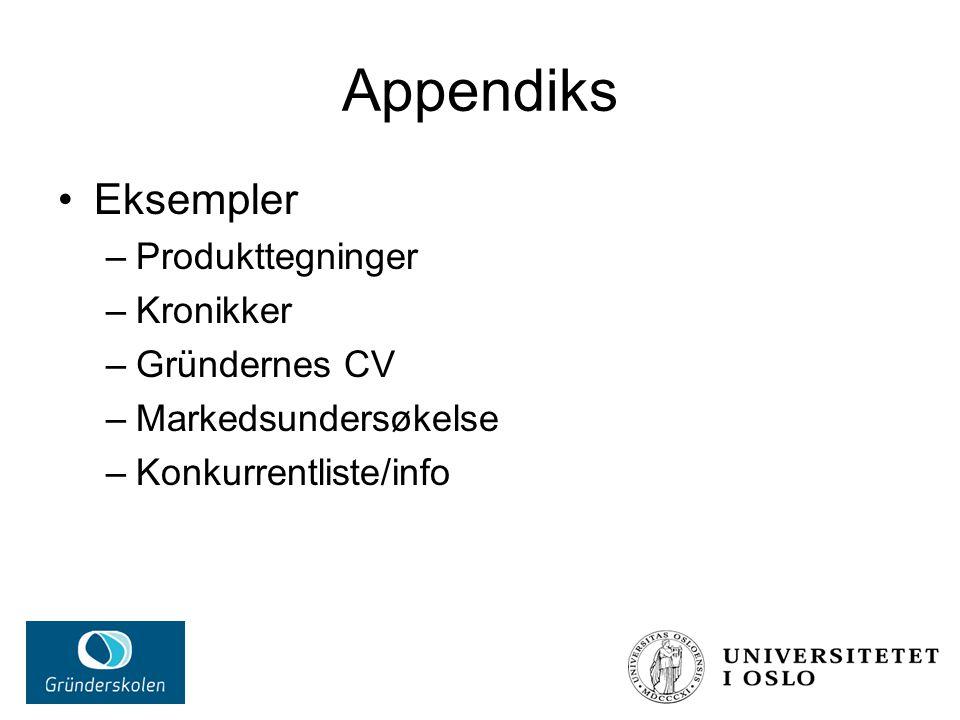 Appendiks Eksempler –Produkttegninger –Kronikker –Gründernes CV –Markedsundersøkelse –Konkurrentliste/info