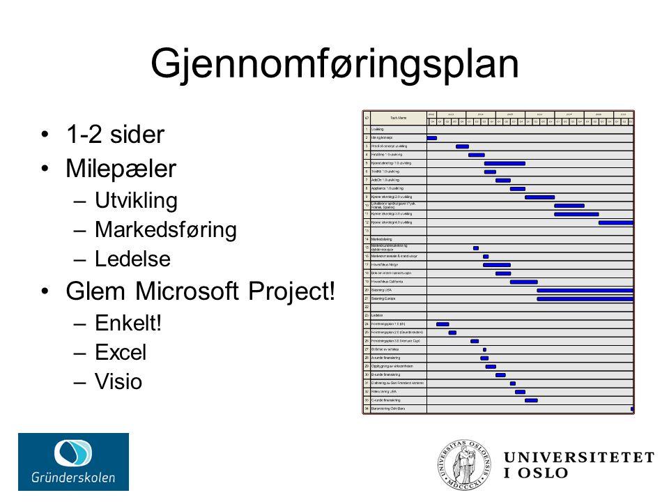 Gjennomføringsplan 1-2 sider Milepæler –Utvikling –Markedsføring –Ledelse Glem Microsoft Project! –Enkelt! –Excel –Visio