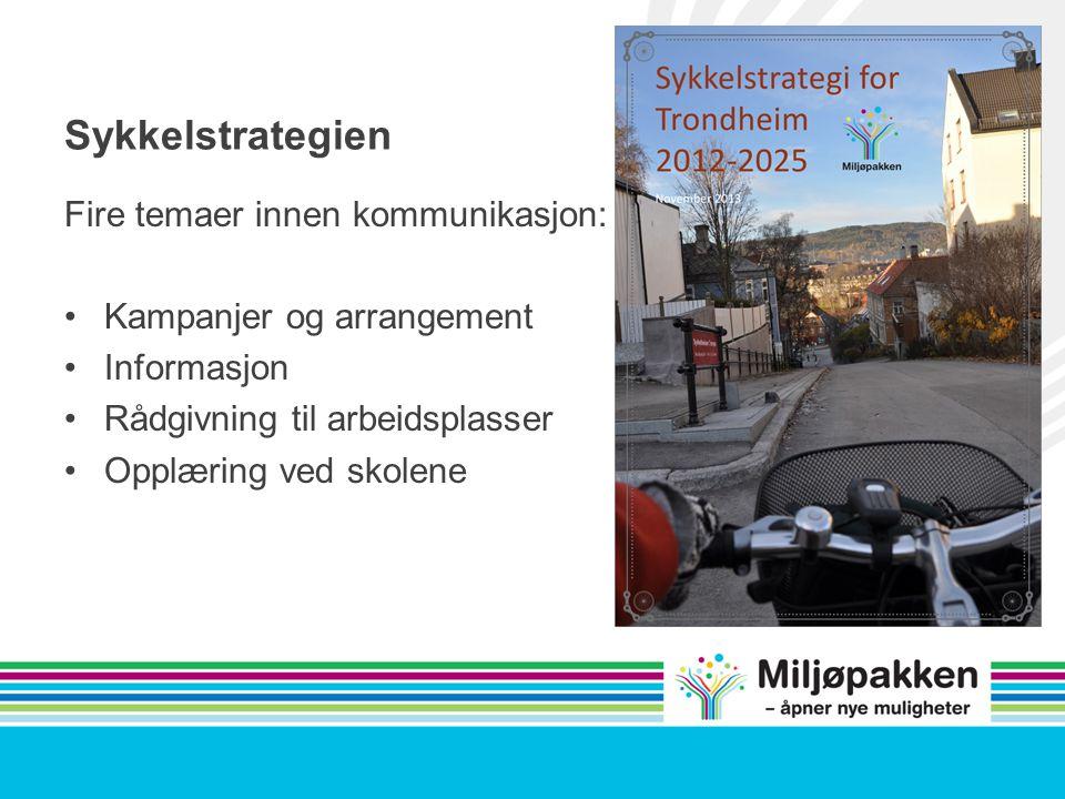 Sykkelstrategien Fire temaer innen kommunikasjon: Kampanjer og arrangement Informasjon Rådgivning til arbeidsplasser Opplæring ved skolene