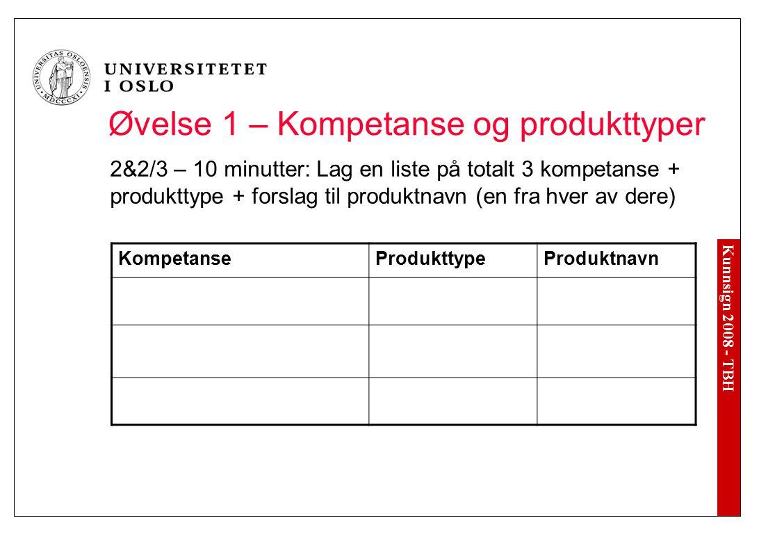 Kunnsign 2008 - TBH Øvelse 1 – Kompetanse og produkttyper 2&2/3 – 10 minutter: Lag en liste på totalt 3 kompetanse + produkttype + forslag til produkt
