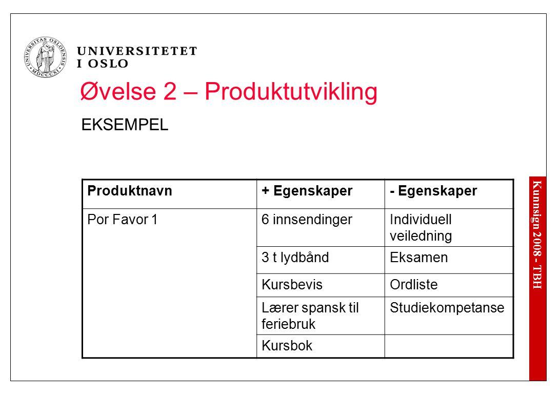 Kunnsign 2008 - TBH Øvelse 2 – Produktutvikling EKSEMPEL Produktnavn+ Egenskaper- Egenskaper Por Favor 16 innsendingerIndividuell veiledning 3 t lydbå