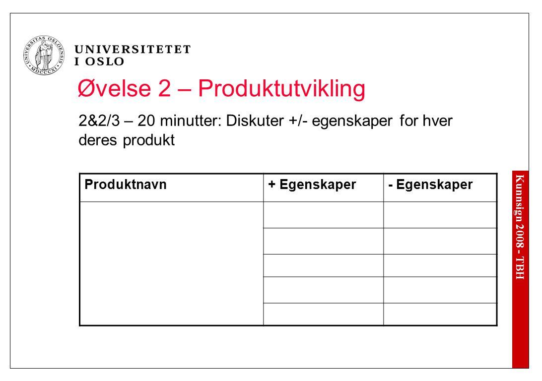 Kunnsign 2008 - TBH Øvelse 2 – Produktutvikling 2&2/3 – 20 minutter: Diskuter +/- egenskaper for hver deres produkt Produktnavn+ Egenskaper- Egenskape