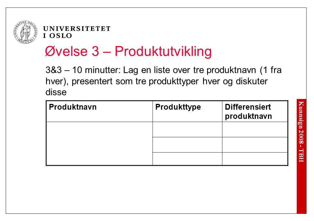 Kunnsign 2008 - TBH Øvelse 3 – Produktutvikling 3&3 – 10 minutter: Lag en liste over tre produktnavn (1 fra hver), presentert som tre produkttyper hve