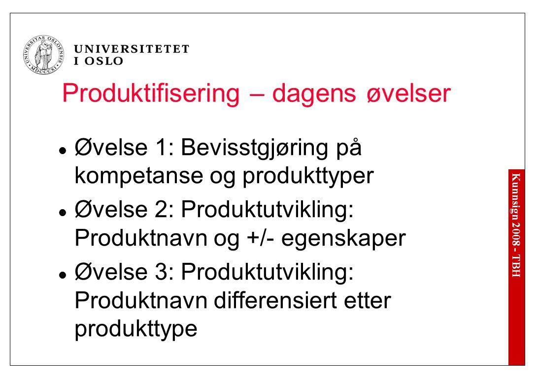 Kunnsign 2008 - TBH Produktifisering – dagens øvelser Øvelse 1: Bevisstgjøring på kompetanse og produkttyper Øvelse 2: Produktutvikling: Produktnavn o