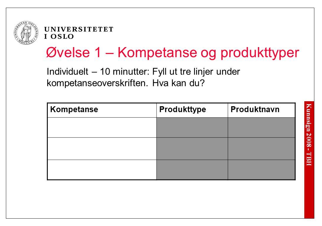 Kunnsign 2008 - TBH Øvelse 1 – Kompetanse og produkttyper Individuelt – 10 minutter: Fyll ut tre linjer under kompetanseoverskriften. Hva kan du? Komp