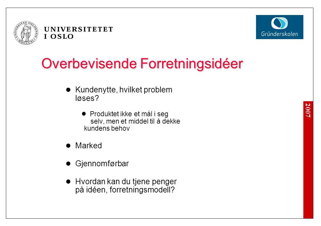 2007 Overbevisende Forretningsidéer Kundenytte, hvilket problem løses.