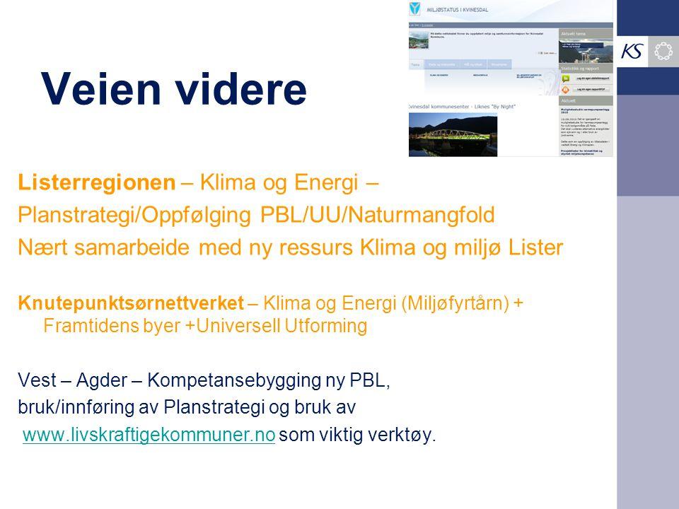 Veien videre Listerregionen – Klima og Energi – Planstrategi/Oppfølging PBL/UU/Naturmangfold Nært samarbeide med ny ressurs Klima og miljø Lister Knut