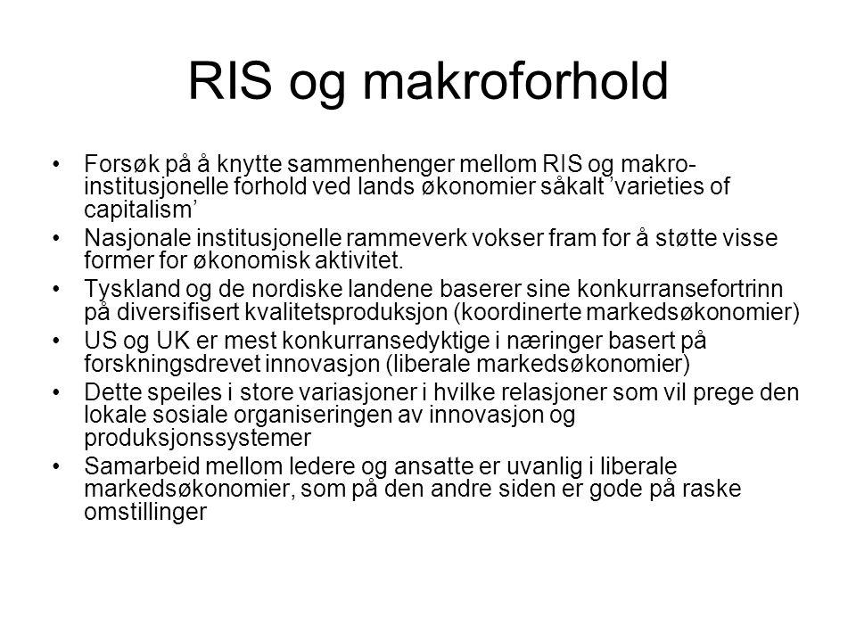 RIS og makroforhold Forsøk på å knytte sammenhenger mellom RIS og makro- institusjonelle forhold ved lands økonomier såkalt 'varieties of capitalism'