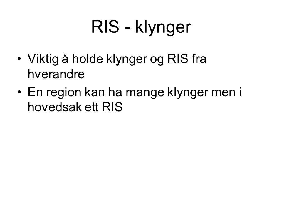 RIS - klynger Viktig å holde klynger og RIS fra hverandre En region kan ha mange klynger men i hovedsak ett RIS