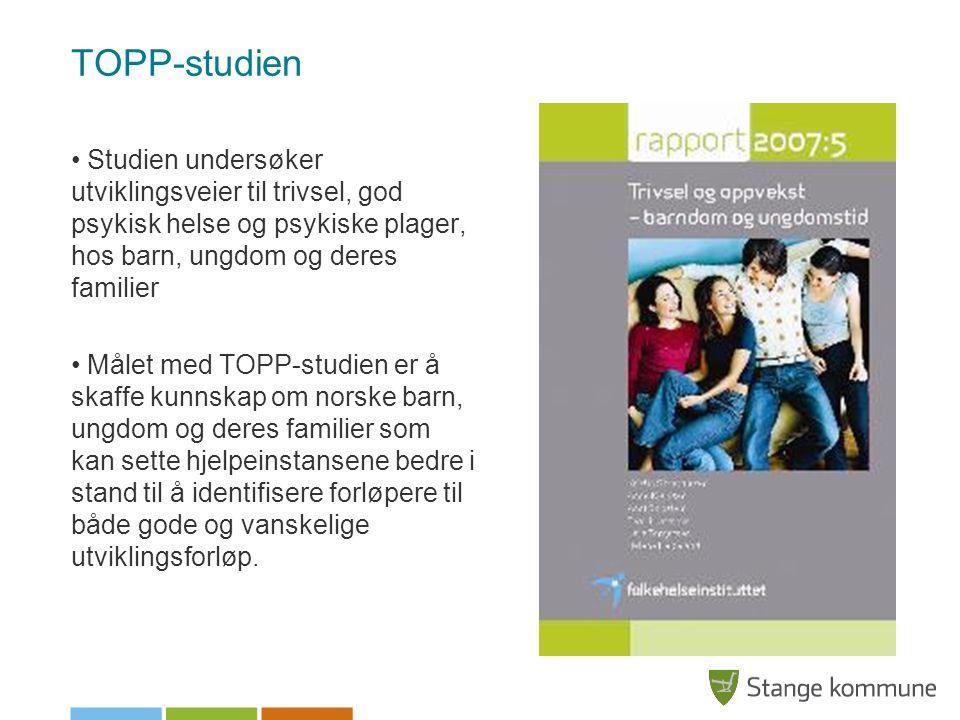 TOPP-studien Studien undersøker utviklingsveier til trivsel, god psykisk helse og psykiske plager, hos barn, ungdom og deres familier Målet med TOPP-s