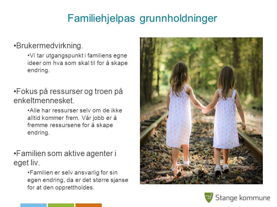 Familiehjelpas grunnholdninger Brukermedvirkning. Vi tar utgangspunkt i familiens egne ideer om hva som skal til for å skape endring. Fokus på ressurs