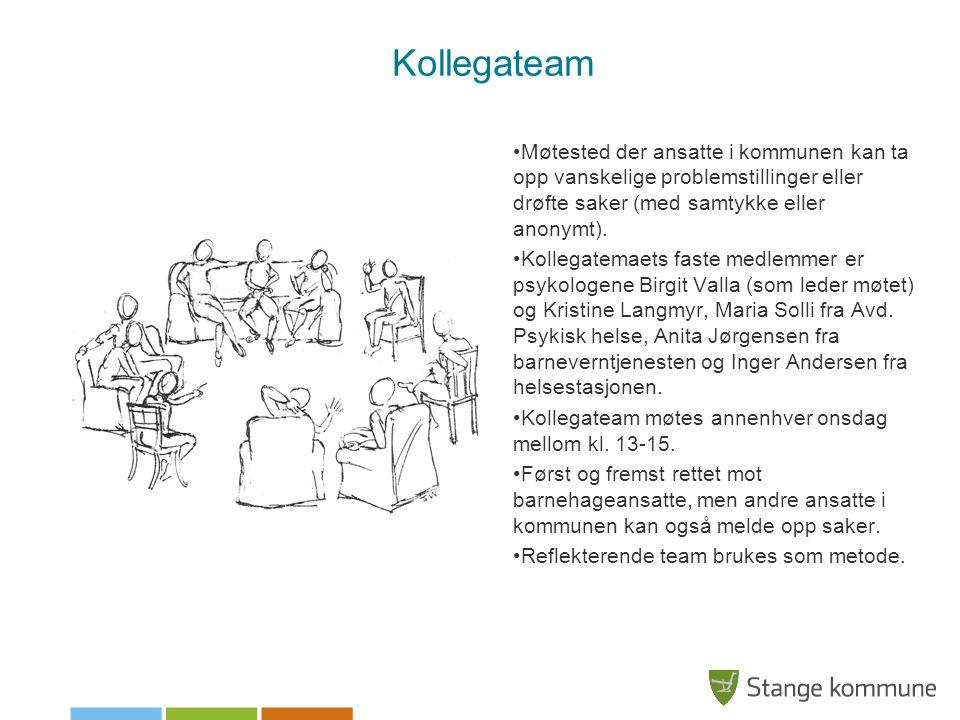 Kollegateam Møtested der ansatte i kommunen kan ta opp vanskelige problemstillinger eller drøfte saker (med samtykke eller anonymt). Kollegatemaets fa