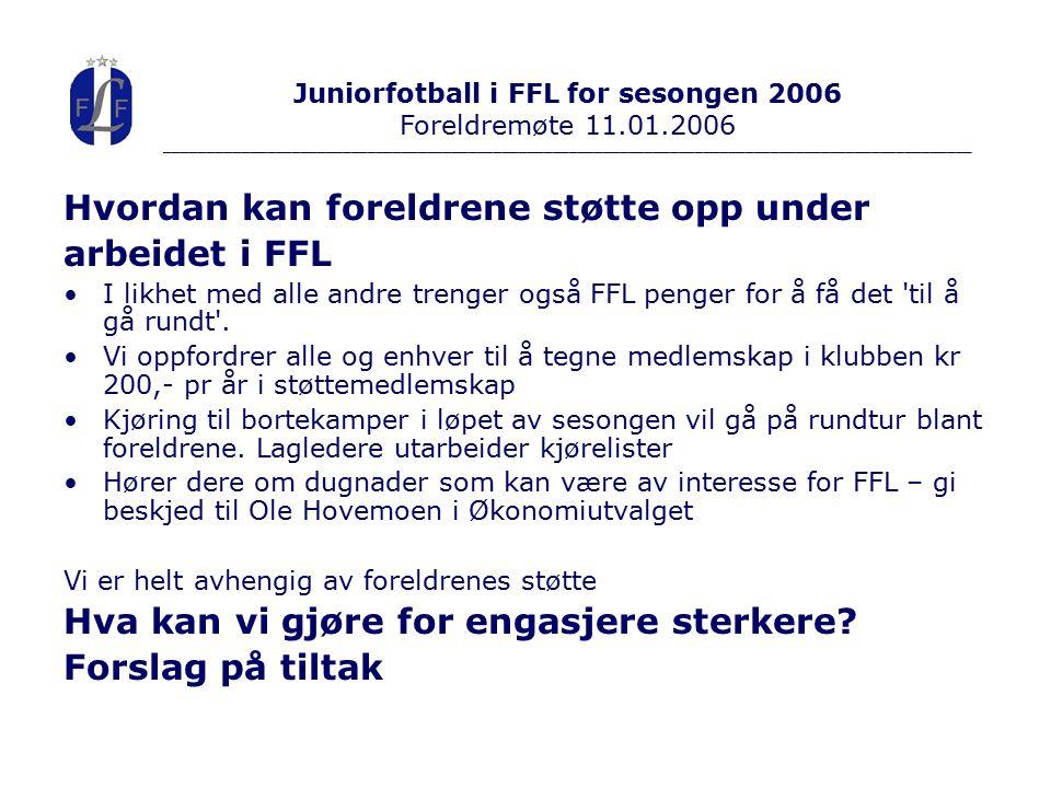 Hvordan kan foreldrene støtte opp under arbeidet i FFL I likhet med alle andre trenger også FFL penger for å få det til å gå rundt .