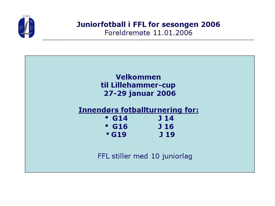 Juniorfotball i FFL for sesongen 2006 Foreldremøte 11.01.2006 ________________________________________________________________________________________________ Velkommen til Lillehammer-cup 27-29 januar 2006 Innendørs fotballturnering for:  G14J 14  G16J 16  G19J 19 FFL stiller med 10 juniorlag