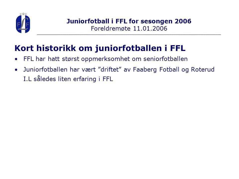 Kort historikk om juniorfotballen i FFL FFL har hatt størst oppmerksomhet om seniorfotballen Juniorfotballen har vært driftet av Faaberg Fotball og Roterud I.L således liten erfaring i FFL Juniorfotball i FFL for sesongen 2006 Foreldremøte 11.01.2006 ________________________________________________________________________________________________