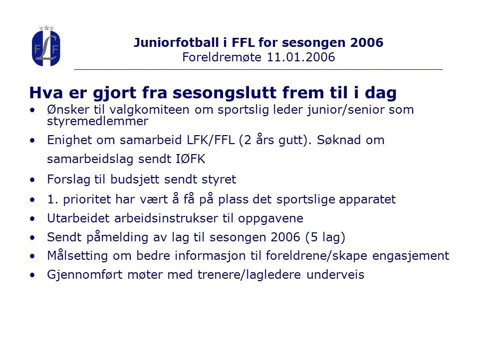 Hva er gjort fra sesongslutt frem til i dag Ønsker til valgkomiteen om sportslig leder junior/senior som styremedlemmer Enighet om samarbeid LFK/FFL (2 års gutt).