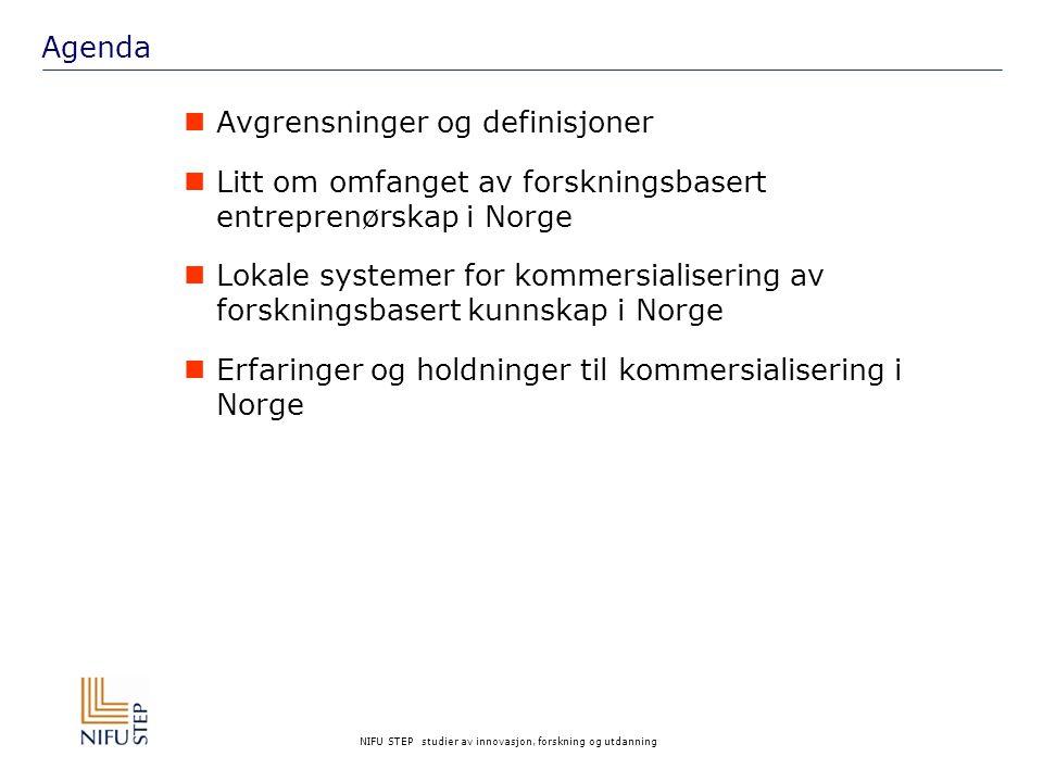 NIFU STEP studier av innovasjon, forskning og utdanning Litt om nasjonale aktører Norges Forskningsråd – FORNY – direkte virkemiddel  Infrastrukturmidler som kan gis til kunnskapsprodusenter.