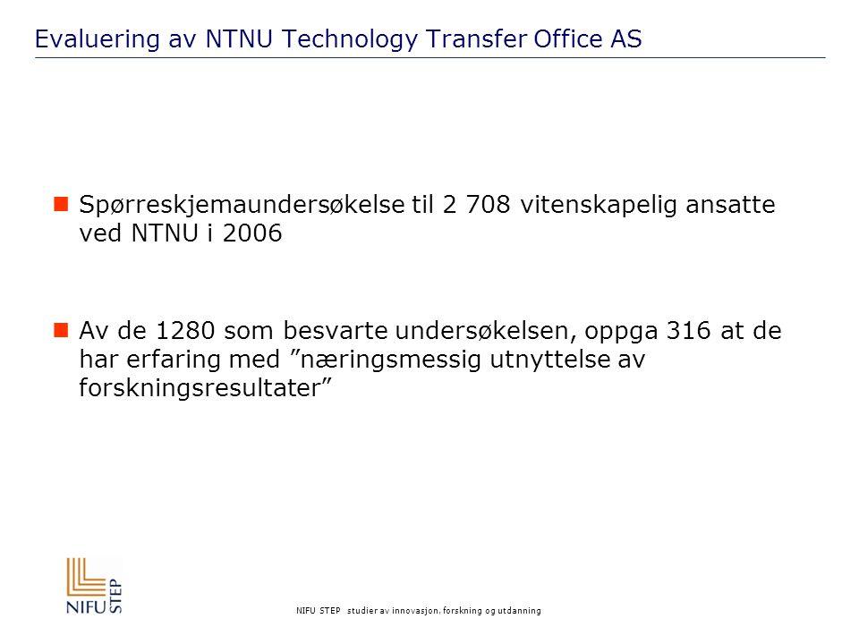 NIFU STEP studier av innovasjon, forskning og utdanning Evaluering av NTNU Technology Transfer Office AS Spørreskjemaundersøkelse til 2 708 vitenskapelig ansatte ved NTNU i 2006 Av de 1280 som besvarte undersøkelsen, oppga 316 at de har erfaring med næringsmessig utnyttelse av forskningsresultater