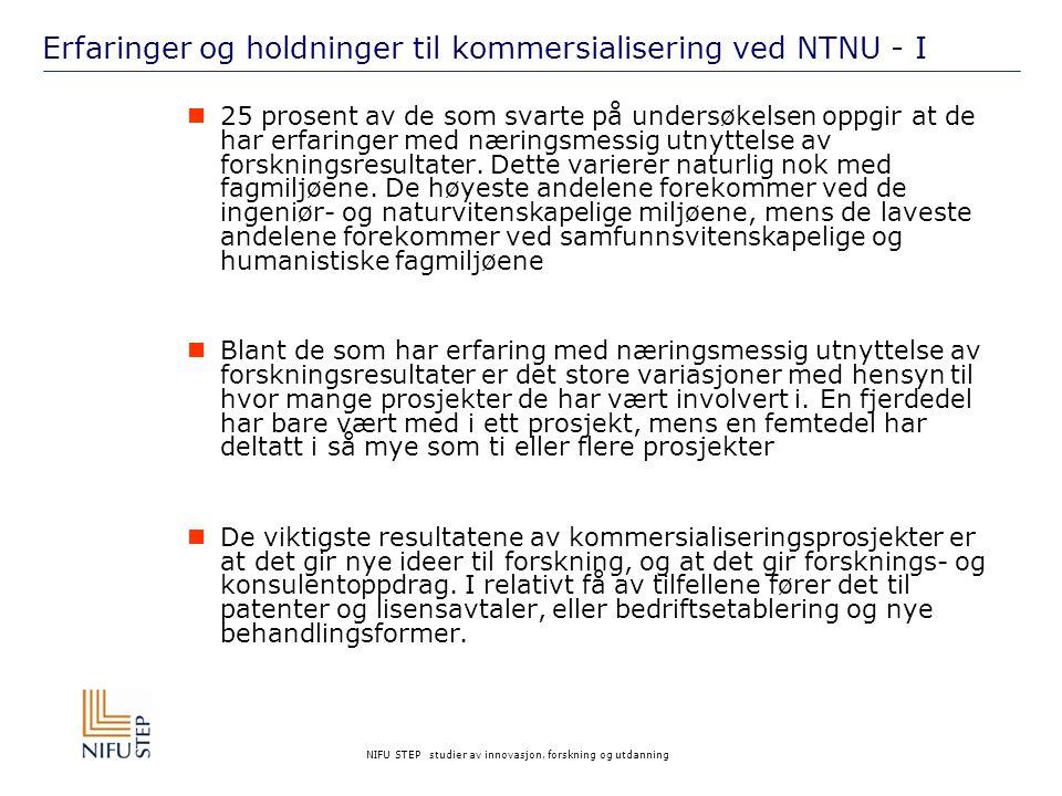 NIFU STEP studier av innovasjon, forskning og utdanning Erfaringer og holdninger til kommersialisering ved NTNU - I 25 prosent av de som svarte på undersøkelsen oppgir at de har erfaringer med næringsmessig utnyttelse av forskningsresultater.