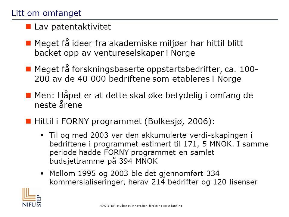NIFU STEP studier av innovasjon, forskning og utdanning Litt om omfanget Lav patentaktivitet Meget få ideer fra akademiske miljøer har hittil blitt backet opp av ventureselskaper i Norge Meget få forskningsbaserte oppstartsbedrifter, ca.