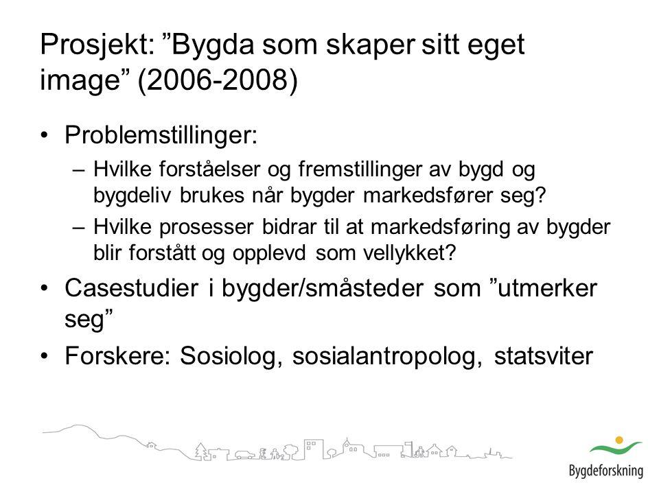 Prosjekt: Bygda som skaper sitt eget image (2006-2008) Problemstillinger: –Hvilke forståelser og fremstillinger av bygd og bygdeliv brukes når bygder markedsfører seg.