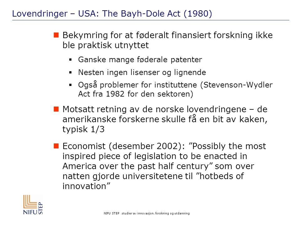 NIFU STEP studier av innovasjon, forskning og utdanning Lovendringer – USA: The Bayh-Dole Act (1980) Bekymring for at føderalt finansiert forskning ikke ble praktisk utnyttet  Ganske mange føderale patenter  Nesten ingen lisenser og lignende  Også problemer for instituttene (Stevenson-Wydler Act fra 1982 for den sektoren) Motsatt retning av de norske lovendringene – de amerikanske forskerne skulle få en bit av kaken, typisk 1/3 Economist (desember 2002): Possibly the most inspired piece of legislation to be enacted in America over the past half century som over natten gjorde universitetene til hotbeds of innovation